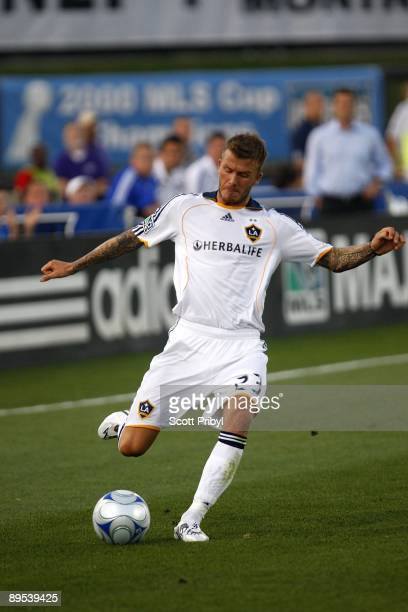 David Beckham of the Los Angeles Galaxy crosses the ball against the Kansas City Wizards at Community America Ballpark in Kansas City Kansas on July...