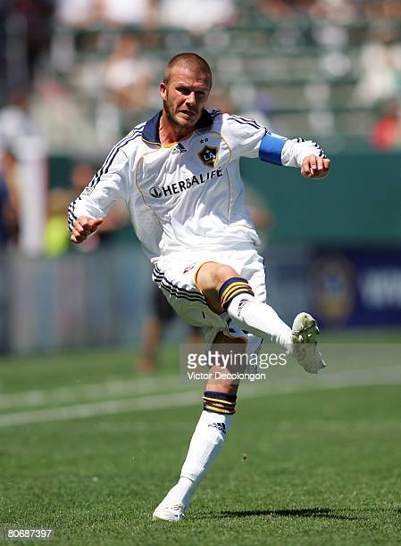 David Beckham of the Los Angeles Galaxy follows through on his kick from the right wing during their MLS game against Toronto FC at the Home Depot...