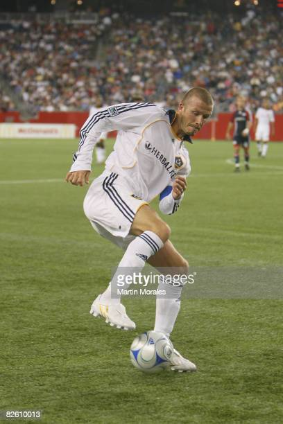 David Beckham of the Los Angeles Galaxy handles the ball during the game played against the New England Revolution at Gillette Stadium on August 30...