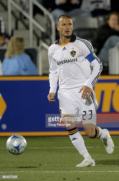 David Beckham of the Los Angeles Galaxy in action against the Colorado Rapids at Dick's Sporting Goods Park on March 29, 2008 in Commerce City,...