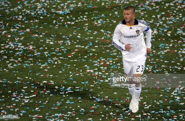 David Beckham of the Los Angeles Galaxy in action against the Colorado Rapids at Dick's Sporting Goods Park on March 29 2008 in Commerce City...
