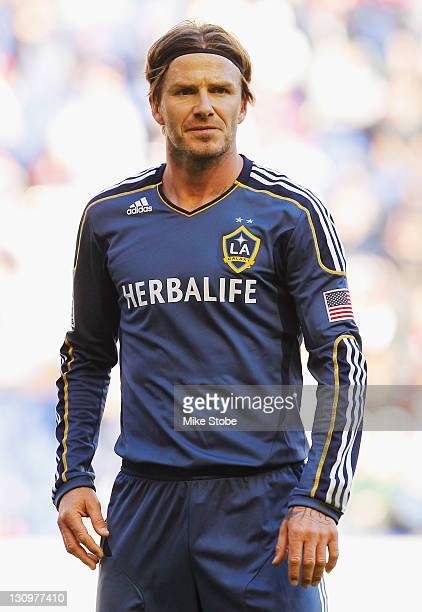 David Beckham of the Los Angeles Galaxy looks on against the New York Red Bulls at Red Bull Arena on October 30 2011 in Harrison New Jersey Galaxy...