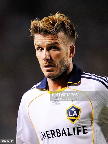 David Beckham of the Los Angeles Galaxy looks on during Game 2 of the MLS Western Conference Semifinals match against Chivas USA at The Home Depot...