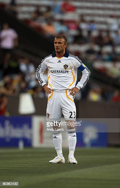 David Beckham of the Los Angeles Galaxy looks on during the game against Gamba Osaka in the Pan Pacific Championships on February 20 2008 at Aloha...
