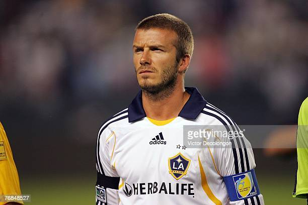 David Beckham of the Los Angeles Galaxy looks on prior to their SuperLiga Final match against Pachuca at the Home Depot Center on August 29, 2007 in...