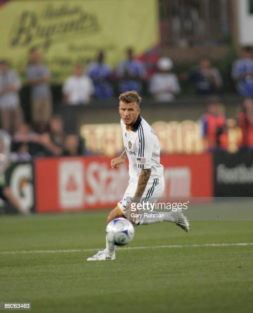 David Beckham of the Los Angeles Galaxy plays against the Kansas City Wizards at CommunityAmerica Ballpark on July 25 2009 in Kansas City Kansas