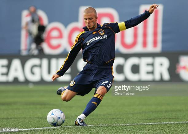 David Beckham of the Los Angeles Galaxy plays the ball against the New York Red Bulls at Giants Stadium in the Meadowlands on July 19, 2008 in East...