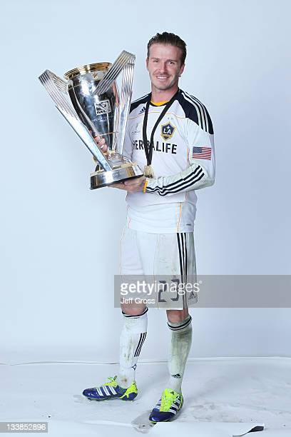 David Beckham of the Los Angeles Galaxy poses for a portrait following the 2011 MLS Cup at The Home Depot Center on November 20 2011 in Carson...