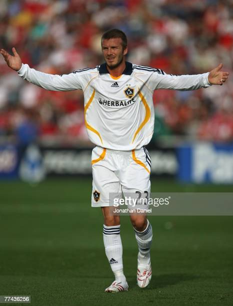 David Beckham of the Los Angeles Galaxy protests a call to a referee during a match against the Chicago Fire on October 21, 2007 at Toyota Park in...