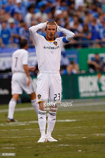 David Beckham of the Los Angeles Galaxy stares in disbelief against the Kansas City Wizards during the game at Arrowhead Stadium on September 13 2008...