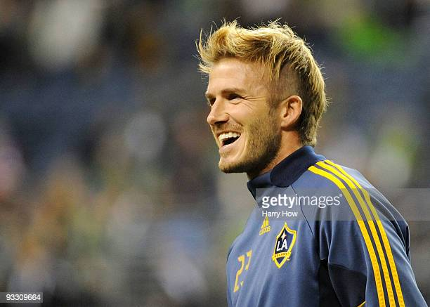 David Beckham of the Los Angeles Galaxy warms up prior to the MLS Cup final at Qwest Field on November 22 2009 in Seattle Washington