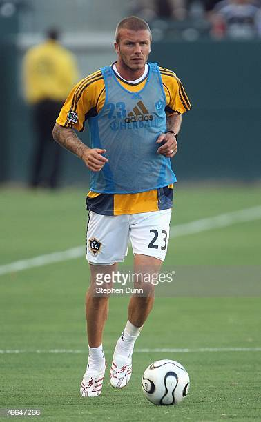 David Beckham of the Los Angeles Galaxy warms up prior to their SuperLiga match against DC United on August 15 2007 at the Home Depot Center in...