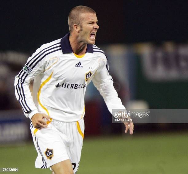 David Beckham of the Los Angles Galaxy shouts at a referee against DC United during his first appearance in Major League Soccer 09 August 2007 at RFK...