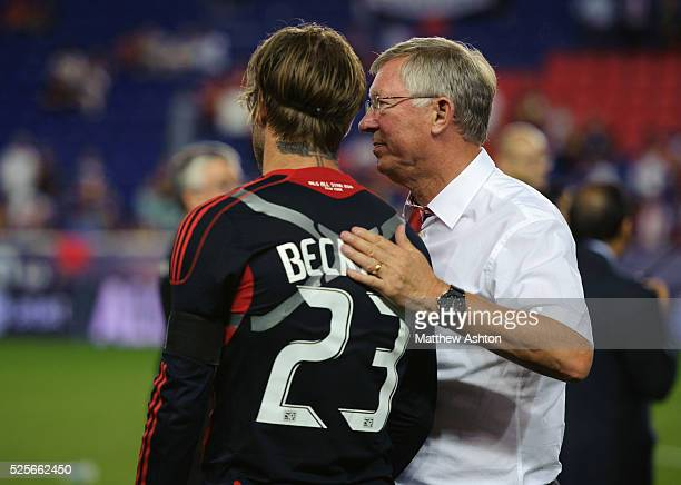 David Beckham of the MLS Allstars with Sir Alex Fersuson the head coach / manager of Manchester United | Location Harrison United States of America