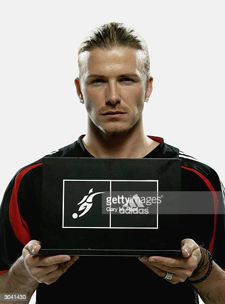 David Beckham officially unveils his new personal logo at the adidas global headquarters on March 3 2004 in Herzogenaurach Germany