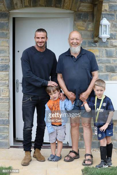 David Beckham opens houses on Maggie's Farm along with Glastonbury Festival founder Michael Eavis and Eavis' grandsons Noah and George in Pilton...