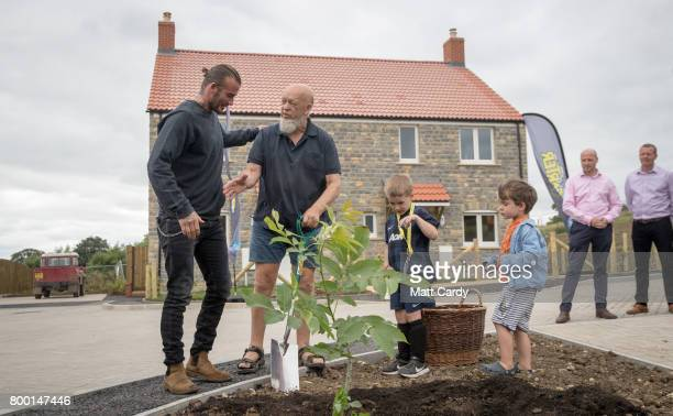 David Beckham opens houses on Maggie's Farm along with Glastonbury Festival founder Michael Eavis in Pilton Village on June 23 2017 near Glastonbury...