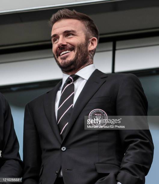 David Beckham owner of Inter Miami CF looks on from his box during a game between Inter Miami CF and Los Angeles FC at Banc of California Stadium on...
