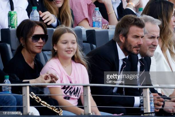 David Beckham, owner of Inter Miami CF, wife Victoria Beckham and their daughter Harper Beckham attend the game between Inter Miami FC and the Los...