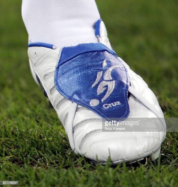 David Beckham pictured with the name Cruz on his boots during the UEFA Champions League match between Real Madrid and Juventus at The Bernabeu...