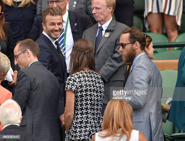 David Beckham Pippa Middleton and James Middleton attend day ten of the Wimbledon Tennis Championships at Wimbledon on July 9 2015 in London England