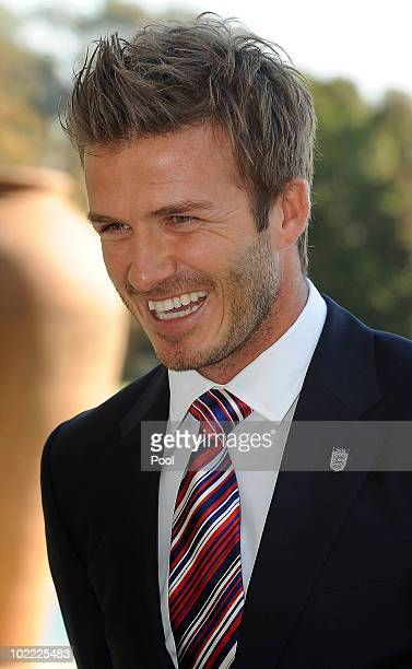 David Beckham poses at an FA reception at the Saxon Hotel on June 19 2010 in Johannesberg South Africa