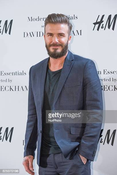 David Beckham presents the new 'Modern Essentials by H&M' collection at the H&M Gran Via store on March 20, 2015 in Madrid, Spain.