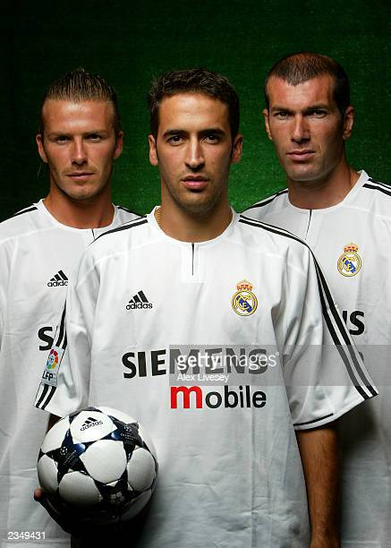 David Beckham Raul and Zinedine Zidane of Real Madrid during an adidas shoot on July 30 2003 at the at the Harbour Plaza Hotel in Kunming China