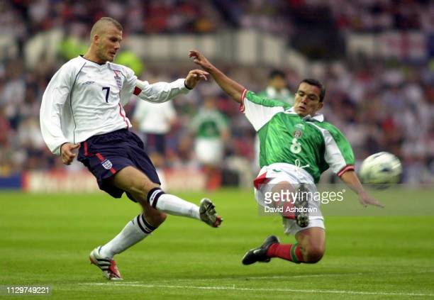 David Beckham scores the 3rd goal during England V Mexico at Pride Park Derby 25th may 2001