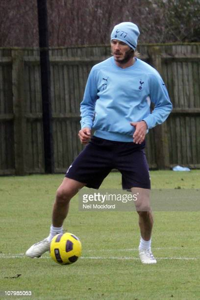 David Beckham sighted training with the Tottenham Hotspur players on January 11 2011 in Chigwell England