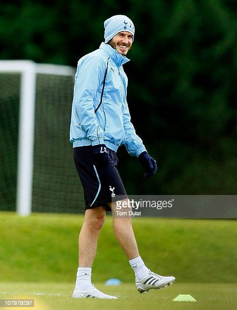 David Beckham smiles as he takes part in a Tottenham Hotspur training session at Tottenham Hotspur training ground on January 11 2011 in Chigwell...