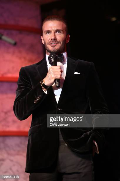 David Beckham speaks on stage at the amfAR Gala Cannes 2017 at Hotel du CapEdenRoc on May 25 2017 in Cap d'Antibes France
