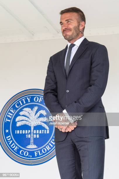 David Beckham speaks on stage to the fans prior to appearing before the Miami City Commission at Miami City Hall on July 12 2018 in Miami Florida