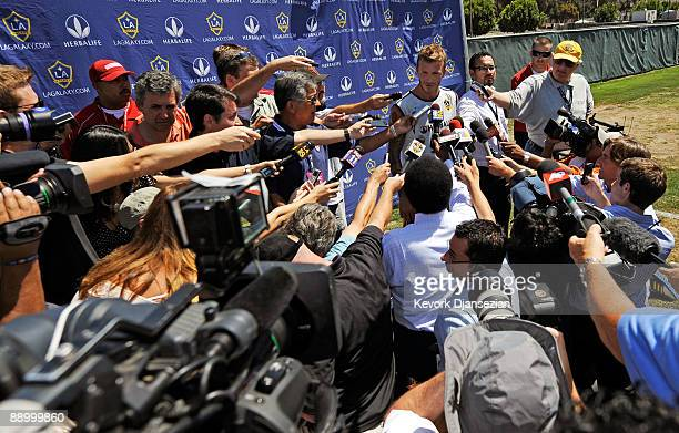 David Beckham speaks to the media following practice with the Los Angeles Galaxy for the first time this year following the extension of his loan...