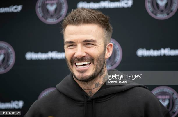 David Beckham speaks with the media as he visits the Inter Miami CF team at Inter Miami Stadium and Training Complex in Fort Lauderdale, Fla., on...