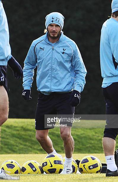 David Beckham takes part in a Spurs training session with Tottenham Hotspur players on January 11 2011 in Chigwell England