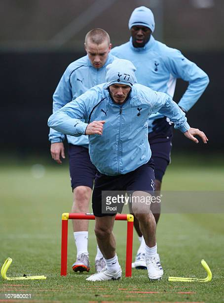 David Beckham takes part in a Tottenham Hotspur training session at Tottenham Hotspur training ground on January 11 2011 in Chigwell England