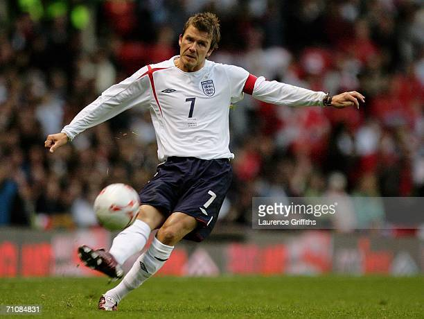 David Beckham the England Captain takes a free kick during the International Friendly match between England and Hungary at Old Trafford on May 30...