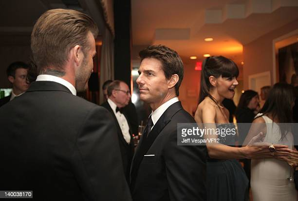 David Beckham Tom Cruise and Katie Holmes attend the 2012 Vanity Fair Oscar Party Hosted By Graydon Carter at Sunset Tower on February 26 2012 in...