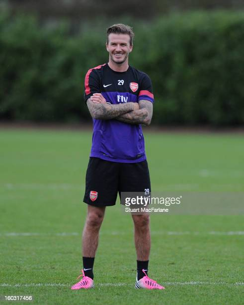 David Beckham trains with the Arsenal squad at London Colney on January 29 2013 in St Albans England