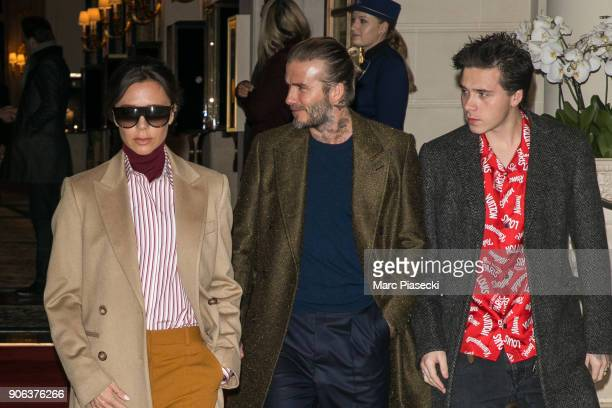 David Beckham Victoria Beckham and Brooklyn Beckham are seen leaving the 'Ritz' hotel on January 18 2018 in Paris France