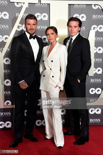 David Beckham Victoria Beckham and Brooklyn Beckham attend GQ Men Of The Year Awards 2019 in association with HUGO BOSS at Tate Modern on September...