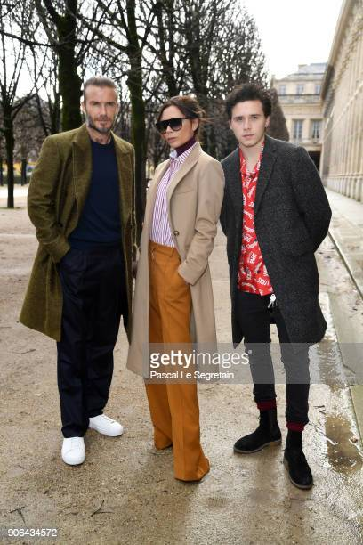 David Beckham Victoria Beckham and Brooklyn Beckham attend the Louis Vuitton Menswear Fall/Winter 20182019 show as part of Paris Fashion Week on...