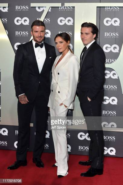 David Beckham Victoria Beckham and their son Brooklyn Beckham attend the GQ Men Of The Year Awards 2019 at Tate Modern on September 03 2019 in London...
