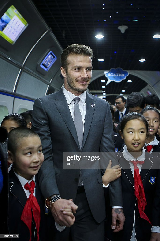 David Beckham visits Shijia Hutong Primary School on March 20, 2013 in Beijing, China.