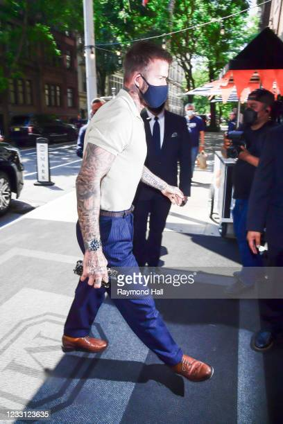 David Beckham walks outside the Mark Hotel on May 26, 2021 in New York City.