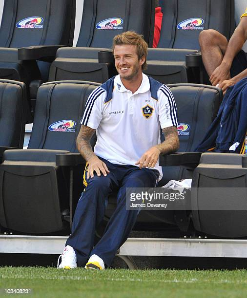 David Beckham watches his team play at the Los Angeles Galaxy vs. New York Red Bulls game at Red Bull Arena on August 14, 2010 in Harrison, New...