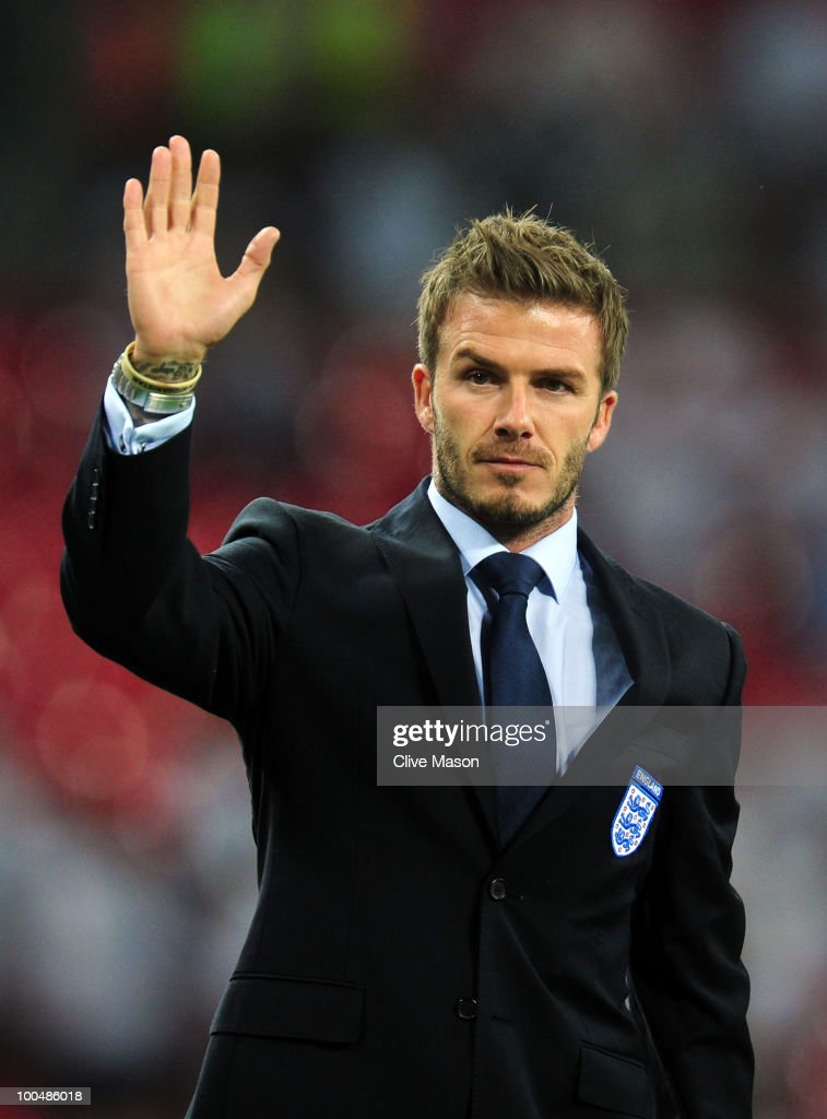 David Beckham waves to the fans after the International Friendly match between England and Mexico at Wembley Stadium on May 24, 2010 in London, England.