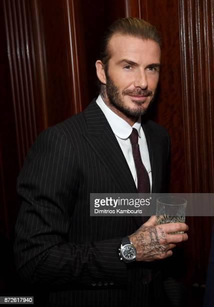 David Beckham wears TUDORs Black Bay Chrono timepiece at the celebration of his new ambassadorship for Swiss Watch Brand TUDOR at The Clocktower in...