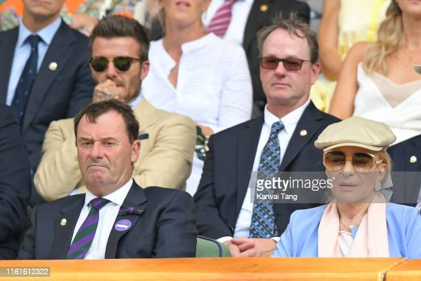 David Beckham, Wimbledon Chairman Philip Brook and Princess Michael of Kent on Centre Court during day eleven of the Wimbledon Tennis Championships...